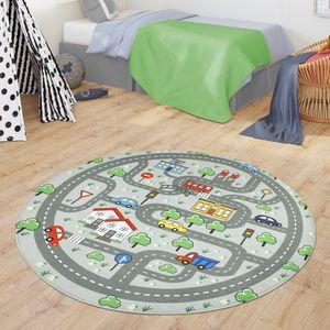 Teppich Kinderzimmer Spielteppich Babymatte Jungs Straßenteppich Auto Stadt Motiv, Farbe:Grau, Größe:Ø 120 cm Rund
