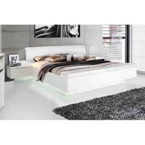 STPL183-C87 Starlet 180 x 200 Weiß Hochglanz Bett Doppelbett Ehebett & Nachtkommoden inkl. Fussbank zum Öffnen und Setzen