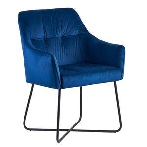 WOHNLING Esszimmerstuhl Samt Blau Küchenstuhl mit Schwarzen Beinen | Schalenstuhl Stoff / Metall | Design Polsterstuhl | Stuhl Esszimmer Gepolstert