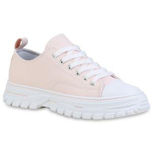 Giralin Damen Sneaker Low Schnürer Blockabsatz Profil-Sohle Schnür-Schuhe 836661, Farbe: Rosa, Größe: 39