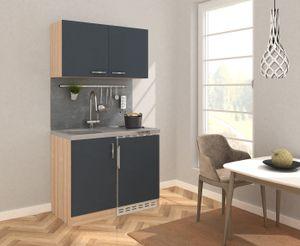 respekta Küche Miniküche Küchenzeile Küchenblock 100 cm Eiche Sägerau grau