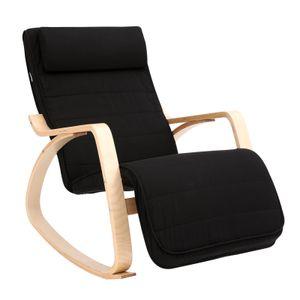 SONGMICS Schaukelstuhl   Schaukelsessel mit verstellbarer Fußstütze   Relaxstuhl bis 150 kg   einfache Montage schwarz LYY10BV1