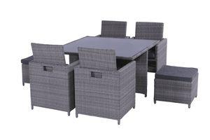 """Hartman Outdoor Lounge Dining Balkon Gartenmöbel Set """"Grandset 4"""" mit 2 Hockern, Geflecht: Dark grey, Kissen: Olefin grey"""