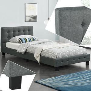 Polsterbett Manresa 90 x 200 cm - Bett mit Lattenrost und Kopfteil - Zeitloses modernes Design, Grau | Artlife