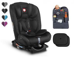 Autokindersitz LIONELO SANDER schwarz ISOFIX TopTether 0-36 kg Autositz Gruppe 0+, I, II und III Reboarder und Vorwärts gerichtet + gratis Organizer und Sonnenschutzelemente