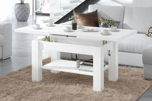 Design Couchtisch Tisch Astoria Weiß matt stufenlos höhenverstellbar 57 - 69cm ausziehbar 110 - 150cm mit Ablagefläche Esstisch