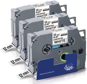 Uniplus Kompatibel für Brother Tzc Tz Tze-231 Tze231 TZ231 Schwarz auf Weiß für Brother PT-1000 PT-D400 PT-H105WB PT-D210 PT-H110 PT-D600VP PT-H107B PT-H100LB, 12mm x 8m, 3 Pack