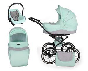 Retro Kinderwagen Kombikinderwagen Set + Zubehör Farbauswahl Romantic Black by ChillyKids B-Mint 04 2in1 ohne Babyschale