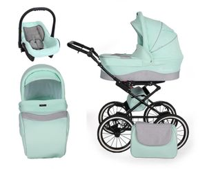 SaintBaby Kinderwagen Retro Classic Kombikinderwagen Buggy Black Mint 04 2in1 ohne Babyschale
