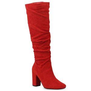 Mytrendshoe Damen Klassische Stiefel High Heels Boots 832115, Farbe: Rot, Größe: 36