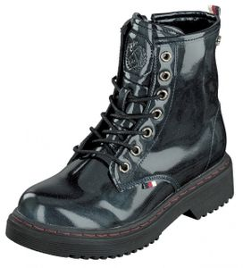 Indigo Shoes Kinder Mädchen Schuhe Lack Boots Schnürer 452-100 Navy Reißverschl.