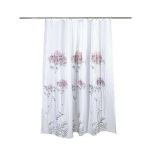 Duschvorhang 180x200cm Blumenmuster Wannenvorhang Badvorhang Schimmelresistenter und Wasserabweisend Shower Curtain mit 12 Duschvorhangringen