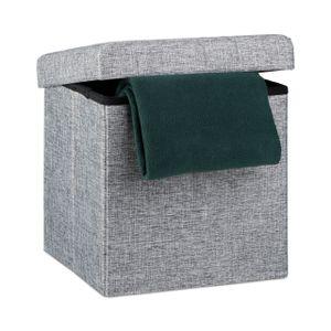 relaxdays Faltbarer Sitzhocker mit Stauraum Leinen