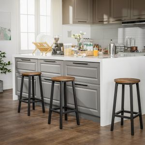 VASAGLE 2er Set Barhocker | Barstühle mit stabilem Stahlgestell | Küchenstühle Höhe 65 cm rund einfache Montage vintagebraun-schwarz LBC32X
