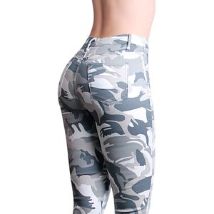 topschuhe24 2020 Damen Skinny Jeans Camouflage Hose Destroyed, Farbe:Grau, Größe:40 EU