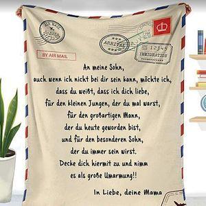 Personalisierte Fleecedecke An Meine Sohn Brief Gedruckt Quilts Luftpost Decke Papa Mutter Ermutigen Und Lieben für Söhne Flanell Decken Weihnachten Geschenk, Deutsche,150X200 cm