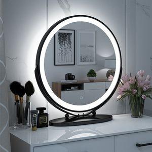 Kosmetikspiegel mit LED Schwarzer Rahmen Drehbar Runder Kosmetikspiegel Drei Farbtemperaturen 50*50cm-OV