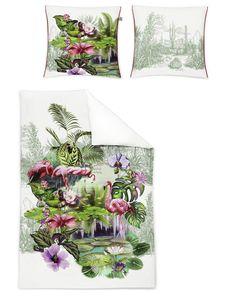 Irisette Juwel Mako-Satin Bettwäsche 155x220 Tropical Flamingo Blüten 8894-90
