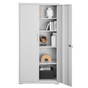 SONGMICS Aktenschrank, Büroschrank mit 2 Türen, Aufbewahrungsschrank aus Stahl, 5 Ebenen, für Garage, Arbeitszimmer, stabil, grau OMC015G01