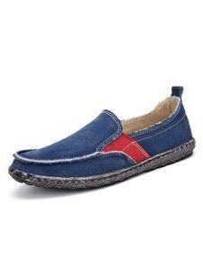 Herren Mode Atmungsaktive Segeltuch Schuhe Bequeme Loafer Denim Freizeit Schuhe,Farbe: Blau,Größe:39