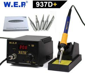 60W Digital Lötkolben Entlötkolben Lötstation Heißluft SMD Rework Station mit 5 Spitzen 200-480℃ /220V
