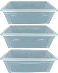 3x Aufbewahrungsbox 5l Stapelbox Plastikbox transparent Kunststoff mit Deckel klein plastic storage Box multibox 34cm
