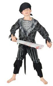 Skelett Geister Piraten Kostüm für Kinder, Größe:110/116