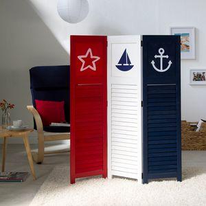 Homestyle4u 1824, Paravent Raumteiler 3 teilig Raumtrenner Sichtschutz Trennwand Motiv Maritim, Weiß Blau Rot