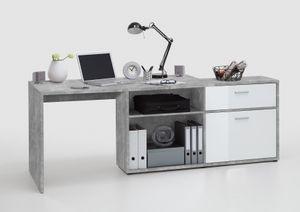 FMD furniture 367-001 Schreibtisch-Winkelkombination in Nachbildung Beton Light Atelier/Hochglanz-Weiß, Maße Tisch ca. 138 x 75 x 67,5 cm / Maße Regal ca. 138 x 71 x 33 cm (BxHxT)
