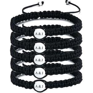 Mllaid MEAGUET 15 Pcs personalisiertes Alphabet Initial Armband einfaches handgeflochtenes Makramee-Armband Freundschaftsarmband Paar Armband BFF Geschenk angepasstes Geschenk