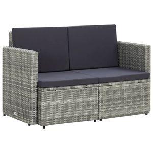vidaXL 2-Sitzer-Gartensofa mit Auflagen Grau Poly Rattan