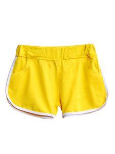 Sexydance  Damen Slim Pocket Pants Mini Shorts Elastic Waist Hot Pants,Farbe: Gelb,Größe:L