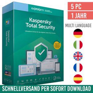 Kaspersky Total Security 2021 | 5 Geräte | 1 Jahr | PC/Mac/Mobilgeräte | Vollversion | Versand per E-Mail