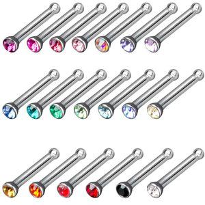 viva-adorno 20er Set gemischt Nasen Piercing 0,8mm Zirkonia Kristall Nasen Stecker Z240b