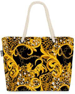 VOID Ornamente Schwarz Gold Strandtasche Shopper 58x38x16cm 23L XXL Einkaufstasche Tasche Reisetasche Beach Bag