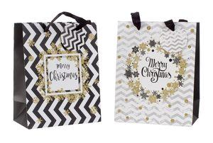 12 Geschenktüten Merry Christmas 18 x 10 x 23 cm Schwarz Weiss