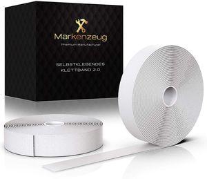 MARKENZEUG® Premium Klettband Weiß, Selbstklebend, Extra Stark, Klettverschluss Doppelseitig, 8M Lang & 20MM Breit, Optimal Für Diverse Einsatzzwecke - Verbessertes Konzept 2021