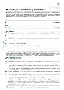 Mietvertrag für Kraftfahrzeug-Einstellplätze, 2 Seiten, DIN A4