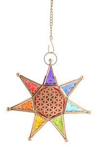 Berk L-01 Orientalisches Licht Chakra Stern mit Kette Laterne für Teelichter