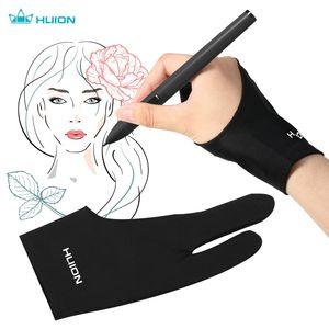 Huion GL200 Zwei-Finger-Zeichenhandschuh in freier Größe Künstler-Tablet-Malhandschuh für die rechte und linke Hand Kompatibel mit Huion Graphics-Zeichentabletten