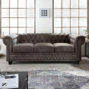 Chesterfield 3-Sitzer Sofa vintage grau taupe mit Knopfheftung und Federkern