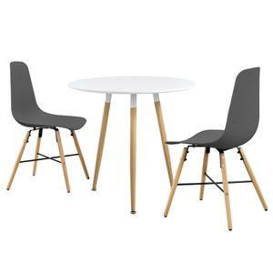 [en.casa] Esstisch weiß mit 2 Stühlen grau Ø80cm Tisch Essgruppe Stühle Set
