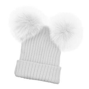 Mode Baby Kinder Wintermütze Wolle gestrickte warme Doppel Bommel Mützen Farbe Weiß für Mutter