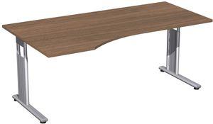 C-Fuß Flex Freiformtisch, 180 x 80-100 cm, höhenverstellbar, verschiedene Farben, Farbe:Nussbaum, Ausführung Winkel:links