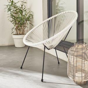 ACAPULCO eiförmiger Sessel - Weiß - 4-beiniger Sessel im Retro-Design, Kunststoffschnur, innen / außen