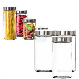 Vorratsgläser 3x 1,7 Liter Glas Schraubglas Lebensmittelglas Edelstahldeckel mit Schraubverschluss