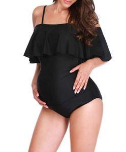 Damen Umstands-Badeanzüge Einteiler Schwangerschaft Bademode Strandmode Badeanzug Rüschen Volant Badeanzug-XXXL