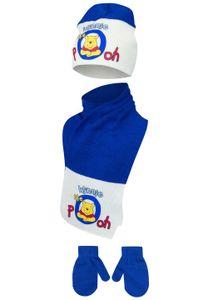 Baby Disney Winnie Pooh Winter-Set 3-tlg Mütze, Schal & Handschuhe Blau-Weiß, Größe:48