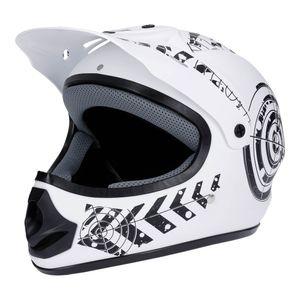Motorradhelm Weiß- Schwarz Matt 57-58 Quad Damen Herren Rollerhelm Cross Enduro