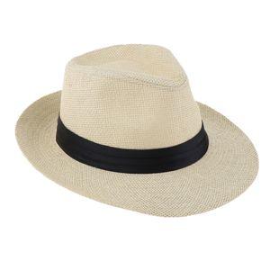Panamahut, Fedora Hut, Gartenhut, Sommerhut, Outdoor-Aktivitäten Mütze für Herren Damen Farbe Beige